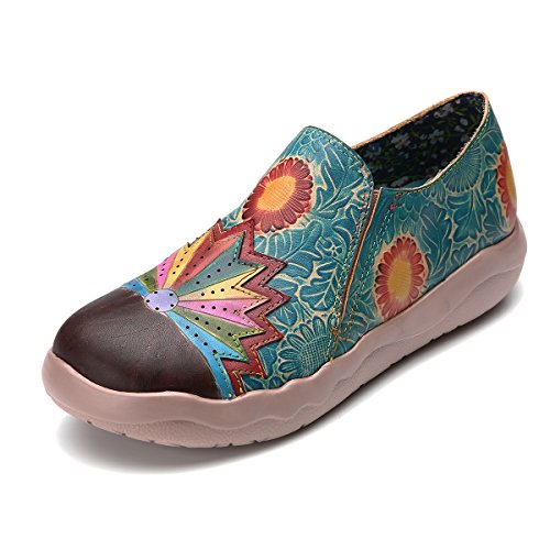 gracosy Damen Leder Slipper, Espadrilles Mary Jane Schuhe Damen Sandalen Halbschuhe Blume Metallic Vintage Leder-Optik Flache Schuhe Blau 2 40