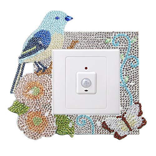 Prosperveil Niedlicher DIY 5D Diamant Malerei Lichtschalter-Aufkleber Leuchtschalter-Umrandung Aufkleber Wand-Aufkleber für Kinder Mädchen Schlafzimmer Heimdekoration (blauer Vogel und Blume)