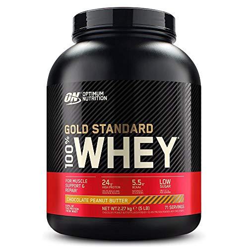 Optimum Nutrition ON Gold Standard 100% Whey Proteína en Polvo, Glutamina y Aminoácidos Naturales, BCAA, Chocolate Mantequilla de Cacahuete, 71 Porciones, 2.27kg, Embalaje Puede Variar