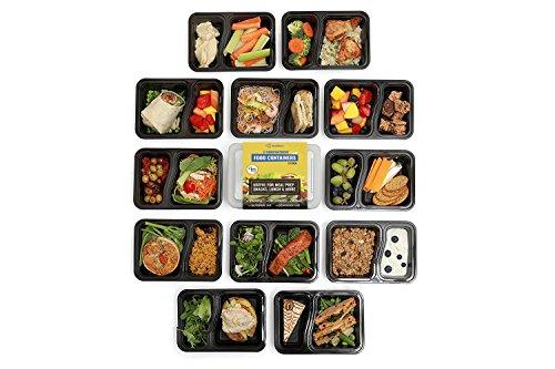 Dealberry Essenszubereitungsbehälter 1 2 oder 3 Fächer Mehrweg-Frischhaltedosen aus Kunststoff mit Deckel Stapelbar Mikrowelle Gefrierschrank Spülmaschinenfest Lunchbox-Set Transparent 2-fach