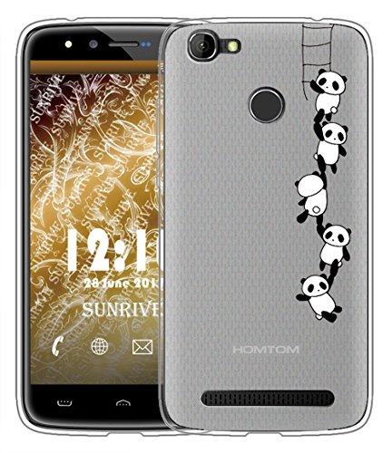 Sunrive Für HOMTOM HT50 Hülle Silikon, Handyhülle matt Schutzhülle Etui Case Backcover für HOMTOM HT50(TPU Panda 1)+Gratis Universal Eingabestift