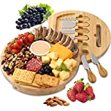 BOLTLINK Cheese Board and Knife Set, Bamboo Round Charcuterie Boards Swivel Meat Platter Personalized Tray with 6 knives for Housewarming Christmas Thanksgiving Party Birthday Wedding Gifts