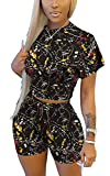 Womens Printed 2 Piece Outfits, Sexy Doodle Short- sleeved Crop Top & Bodycon Shorts Set, Casual Short Tracksuit Activewear (Black, XL)
