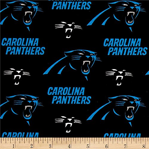 Fabric Traditions NFL Cotton Broadcloth Carolina Panthers Black/Blue Fabric By The Yard