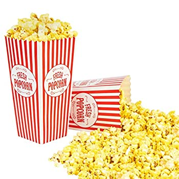 Stock Your Home 46 Oz Popcorn Containers  50 Count  Greaseproof Classic Popcorn Containers for Movie Night with Auto Pop-Up Design - Recyclable Popcorn Boxes for Home Movie Theaters and Parties