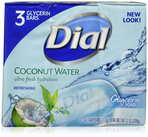 Dial Skin Care Bar Soap, Coconut Water, 4 Ounce, 3 Bars