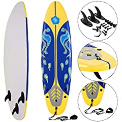 🏄【Durable Construction】 Made of durable top foam and slick HDPE high speed bottom. It is a strong and responsive bottom skin that adds stiffness and maximizes board speed. This surfboard has durable foam top, EPE deck, EPS core and PP ahrd slick bott...