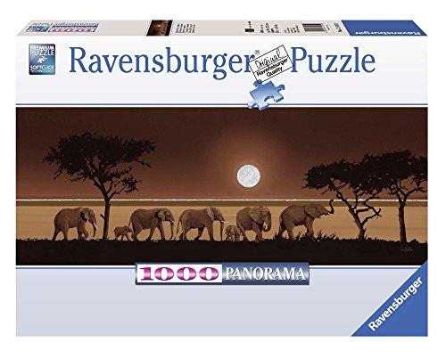 Ravensburger Puzzle, Puzzle 1000 Pezzi, Elefanti nella Savana, Formato Panorama, Puzzle per Adulti, Puzzle Animali, Puzzle Ravensburger - Stampa di Alta Qualità