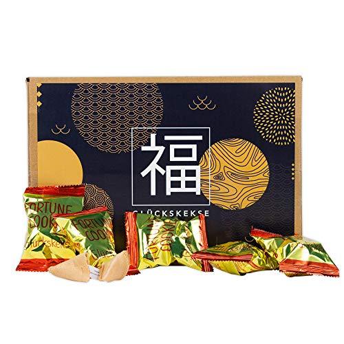20 Glückskekse in asiatischer Geschenk-Box - Fortune Cookies - in Goldfolie einzeln verpackt - Partyspaß für Kinder und Erwachsene