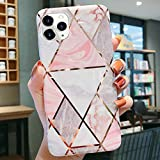 LCHULLE Marble Case for iPhone 11 Pro Max Case Geometric Marble Design Stylish Shiny Rose Gold Stripes Glossy Slim Case Soft TPU Rubber Shockproof Cover for Girls Women, Pink & White