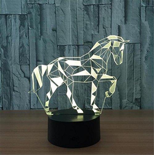 Atmko®3D Nachtlicht Visualisierung Glow 7 Farbwechsel USB Touch-Taste Und Intelligente Fernbedienung Schreibtisch Tisch Beleuchtung Schönes Geschenk Home Office Dekorationen Spielzeug (Zebra)