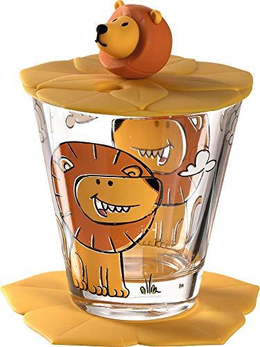 Leonardo Bambini Kinder-Glas 1 Stück, Glas-Becher mit Tier-Motiv Löwe, Deckel Untersetzer BPA-frei, spülmaschinengeeignet, 3-teilig 215 ml 034794