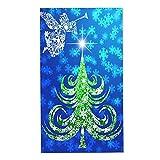CIKYOWAY Juegos de Toallas Ángel en la Trompeta del árbol de Navidad Toallas de Mano multipropósito para baño,Manos,Cara,Gimnasio y SPA Absorbente Suave 40x70cm
