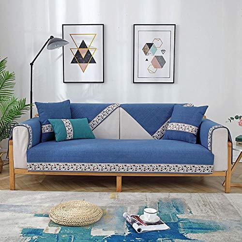 B/H 3 Plaza Funda de Sofá Elástico Cubierta,Cojín de Chenilla para sofá, Funda de sofá Antideslizante Simple-Azul A_90 * 210cm,Funda sofá Duplex