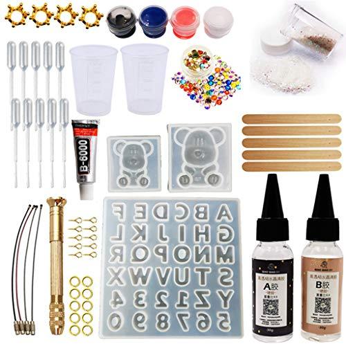 KunmniZ Kit de herramientas de resina epoxi hecho a mano con diseño de oso de gomita con pegamento de resina AB para regalo para Pascua