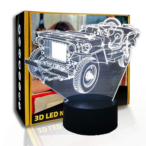 KangYD Kreatives altes Auto 3D Stimmung Nachtlicht, LED optische Täuschungslampe, E - Alarm Clock Base (7 Farbe), Kreatives Licht, Nachttischlampe, Neuheitslampe, Glücksgeschenk