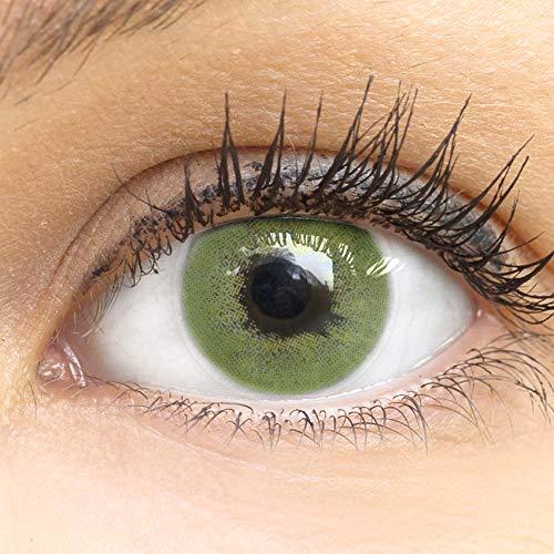 GLAMLENS Rom Green Grün + Behälter   Sehr stark deckende natürliche grüne Kontaktlinsen farbig   farbige Monatslinsen aus Silikon Hydrogel   1 Paar (2 Stück)   DIA 14.20   ohne Stärke