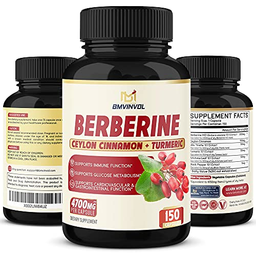 Berberine Supplement 4700mg - 5 Months Supply - Highest Potency with Ceylon Cinnamon, Turmeric - Supports Immune Function, Healthy Blood Sugar, Glucose Metabolism - Berberine HCl Supplement Pills