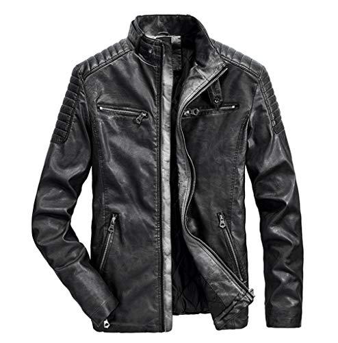 Sijux Chaqueta De Motocicleta Punk para Hombre, Cuero, Vintage, Cuello Alto, Abrigo Cálido Negocios, Abrigo Informal, Prendas Vestir Corredor,Negro,S