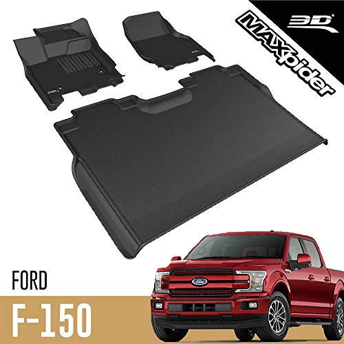 3D MAXpider All-Weather Floor Mats for Ford F-150 SuperCrew 2015 2016 2017 2018 2019 2020 Custom Fit Car Floor Liners, Kagu Series (1st & 2nd Row, Black)
