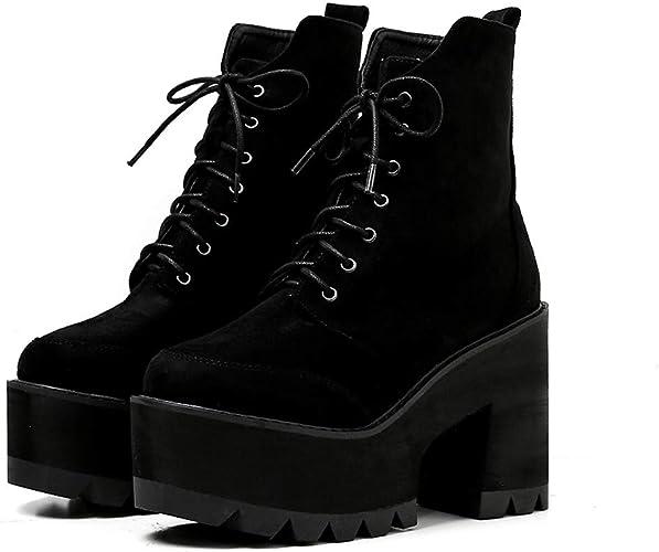 LBTSQ-Bref Les Bottes Chaussures à Talons épais 11Cm épais Seul Talons Hauts des Bottes des Bottes Hautes Martin Bottes Chaussures De Femme.