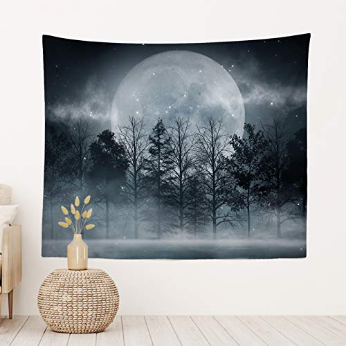 Moon Over Ocean Tapestry Aesthetic Sea Wall Hanging Decorative Nature Night Sky Scenery Wall Blanket Art for Home Rome Bedroom Decor 51.2' x 59.1' Inches