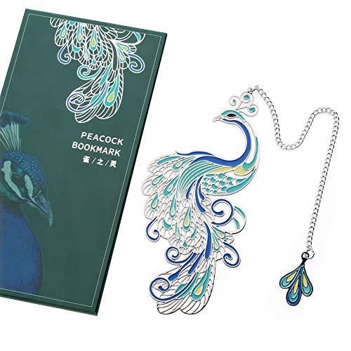 LQKYWNA Segnalibro Creativo Pavone con Catena Pendente Lunga 16cm, Confezione, Regalo Collezione di Artigianato Estetico Orientale
