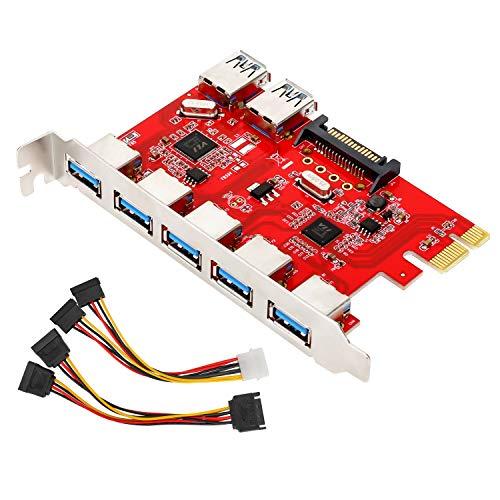 USB3.0 拡張カード ATiC PCI-E 7ポートUSB3.0増設ボード アダプタ 5つの外部ポートを備えたPCI-expressカード 2つの内部USB3.0コネクタ 15ピン電源コネクタ Windows XP/vista/7/8/10対応 銀+赤