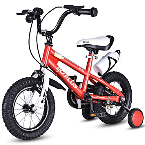 Goplus Freestyle Kids Bike Bicycle 12inch/ 16inch/ 20inch Balance Bike with Training Wheels for Boy's and Girl's (Red, 16-inch)