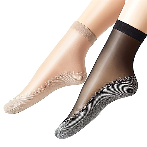 Ueither Women's 6 Pairs Silky Anti-Slip Cotton Sole Sheer Ankle High Tights Hosiery Socks Reinforced Toe (4 Pairs Beige & 2 Pairs Black)