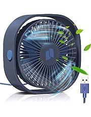 TedGem USB-ventilator, kleine pc-ventilator, 3 snelheden, geluidsarm, USB-ventilator, eenvoudig te dragen, voor kantoor, thuis en buiten