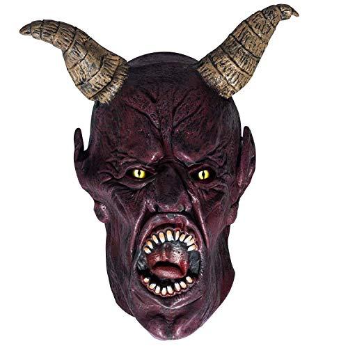 Maschera da diavolo in latex, maschera integrale Scary Devil