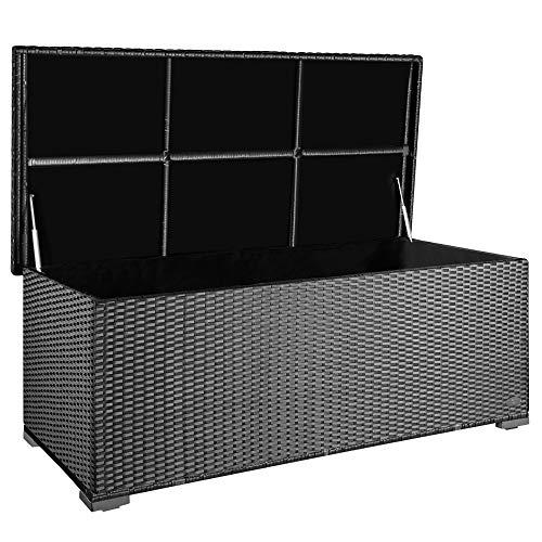 PREMIUM 'Sienna' 650l Polyrattan Garten Kissenbox wetterfest (regnet nicht rein) 155 x 73 x 60 cm, Auflagenbox mit verstärktem Deckel und Gasdruckfedern, als Sitztruhe oder Tischplatte, Silber