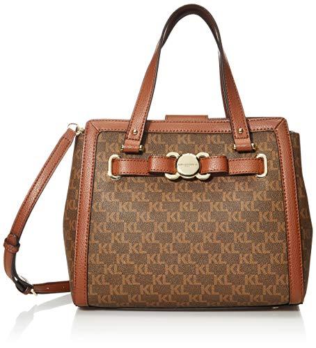 Karl Lagerfeld Paris Damen Bow Satchel Amelia, Tasche mit Signatur und Schleife, Braun/Khaki/Gepäck, Einheitsgröße