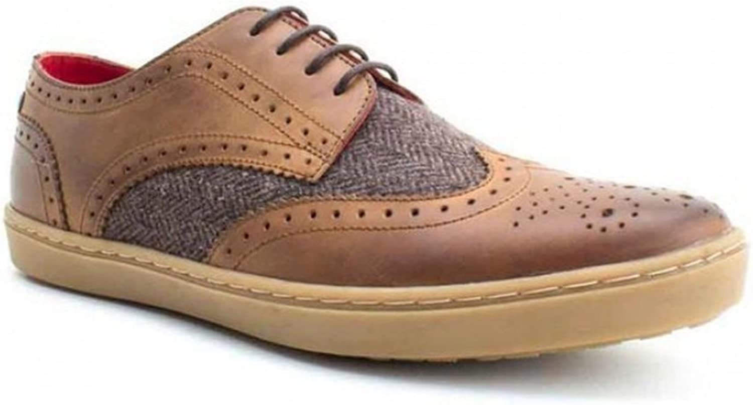 Base London ANGLO Mens Leather Tweed Lace-up Brogue shoes Tan 45