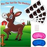 Pin The Tail On The Donkey パーティーゲーム - 楽しくユニークなデザイン - テールステッカー32枚と目隠し2枚付き 複数のプレーヤー用 - クラシックな誕生日ファミリーゲーム - サイズ: 29x19インチ