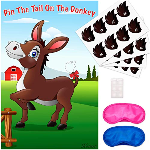 Pin The Tail On The Donkey Party Game - Fun and Unique Design - with 32 Tail Stickers and 2 Blindfolds for Multiple Players - Classic Birthday Family Game for Kids- Size: 29x19 Inch