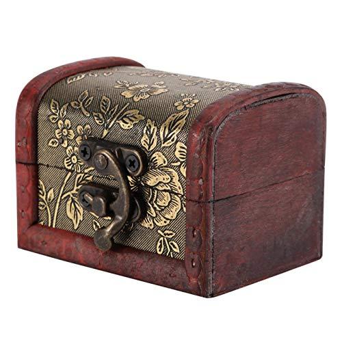 Guoshiy Caja de Almacenamiento, exhibición de Madera del Cofre del Tesoro pequeña para joyería para Adornos