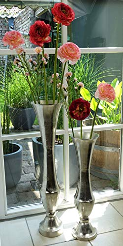 Michael Noll Vase Blumenvase Gefäß Pokalvase Dekovase Aluminium Silber - Bodenvase für Kunstblumen oder Pampasgras - 60 cm / 77 cm (15x15x60 cm (MN-VA-1016))