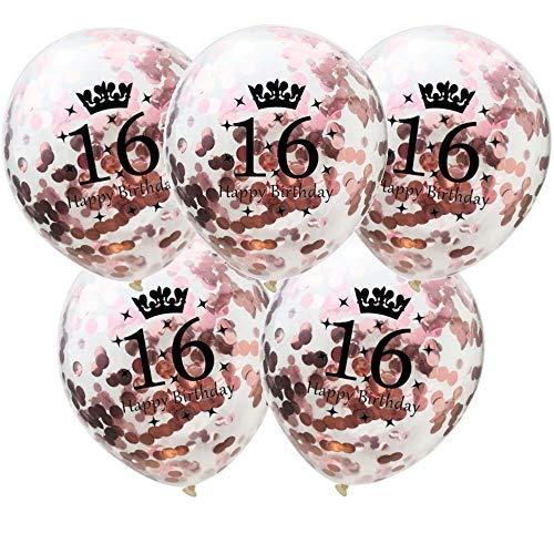 DIWULI, 5 Stück Geburtstags Luftballons, Zahl 16, Happy Birthday, Roségold Konfetti Sterne Latex-Ballons, Latex-Luftballons, Zahlen-Ballons, Ballon-Set Deko Rose-Gold 16. Geburtstag, Party, Dekoration