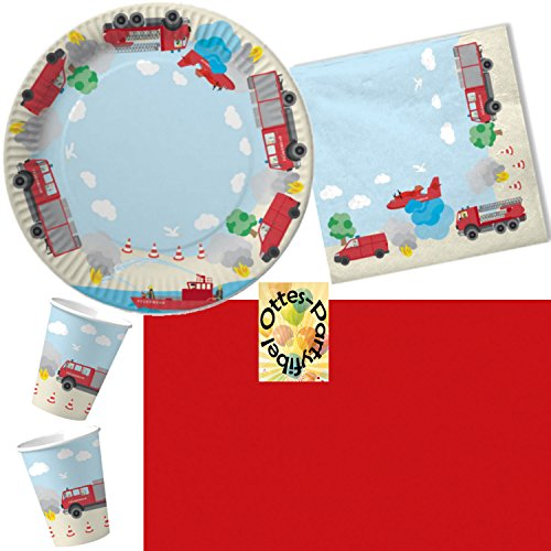 HHO Feuerwehr Party-Set 53tlg. für 16 Kinder : Teller Becher Servietten Tischdecke