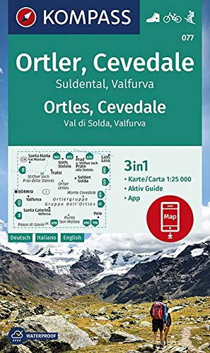 KV WK 077 Ortler, Cevedale 25T: 3in1 Wanderkarte 1:25000 mit Aktiv Guide inklusive Karte zur offline Verwendung in der KOMPASS-App. Fahrradfahren. Skitouren. (KOMPASS-Wanderkarten, Band 77)