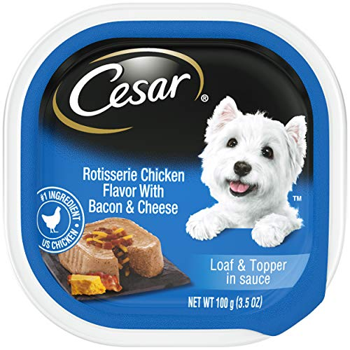 CESAR Soft Wet Dog Food Loaf & Topper in Sauce Rotisserie Chicken Flavor with Bacon & Cheese, (24) 3.5 oz. Easy Peel Trays