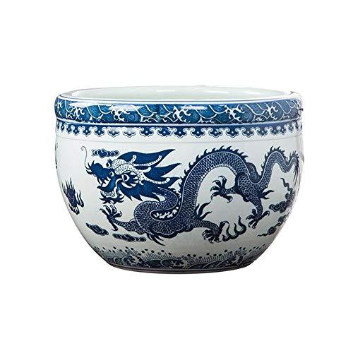 HENG keramische vaas decoratie, visreservoirs, blauw-wit goudvissen schildpadden, slaapkommen, Lotus kommen, klein, medium, groot, zonder basis voor gebruik in thuiskantoor, decoratie, vloer vazen, spa
