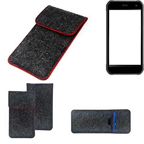 K-S-Trade Handy Schutz Hülle Für Cyrus CS 40 Schutzhülle Handyhülle Filztasche Pouch Tasche Hülle Sleeve Filzhülle Dunkelgrau Roter Rand