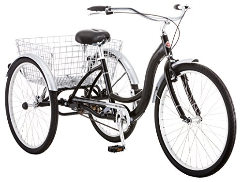 Schwinn Meridian Adult Tricycle with 26-Inch Wheels in Black, with Low Step-Through Aluminum Frame, Front and Rear Fenders, Adjustable Handlebars, Large Cruiser Seat, and Rear Folding Basket