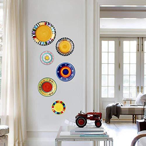JKFJY FOLD Keramik Hängeteller personalisiert bemalt Teller Keramik Hängeteller Deko Teller Wanddeko Ornament Nordamerikanisches Wohnzimmer Esszimmer kreativ, gelb