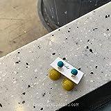 Chwewxi Pendientes de botón Mujer Temperamento de Plata esterlina Pendientes de Perlas de Corea Pendientes de Marea, Verde Mostaza - Aguja de Plata