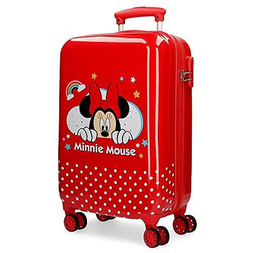 Disney Minnie Rainbow Trolley cabina Rosso 37x55x20 cms Rigida ABS Chiusura a combinazione numerica 32L 2,5Kgs 4 doppie ruote Bagaglio a mano