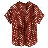 BOBOGOJP ファッション 女性Vネック半袖ポルカドットプリントカジュアルトップブラウスTシャツ